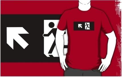 Running Man Exit Sign Adult T-Shirt 102