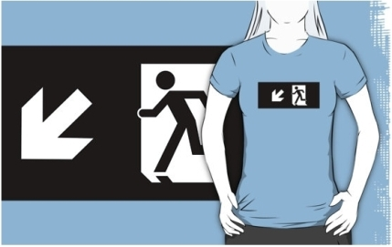 Running Man Exit Sign Adult T-Shirt 103