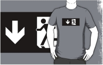 Running Man Exit Sign Adult T-Shirt 104