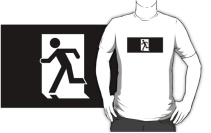 Running Man Exit Sign Adult T-Shirt 105