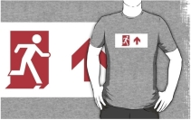 Running Man Exit Sign Adult T-Shirt 106