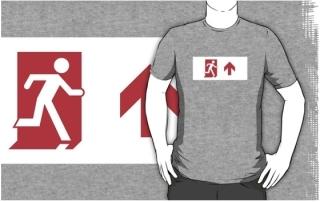 Running Man Exit Sign Adult T-Shirt 106