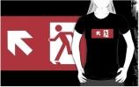 Running Man Exit Sign Adult T-Shirt 107