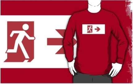 Running Man Exit Sign Adult T-Shirt 108