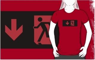 Running Man Exit Sign Adult T-Shirt 11