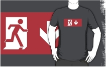 Running Man Exit Sign Adult T-Shirt 110