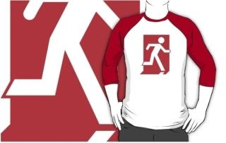 Running Man Exit Sign Adult T-Shirt 111