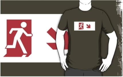 Running Man Exit Sign Adult T-Shirt 112