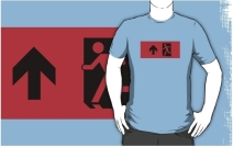 Running Man Exit Sign Adult T-Shirt 113
