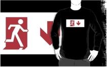 Running Man Exit Sign Adult T-Shirt 114