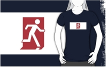 Running Man Exit Sign Adult T-Shirt 115