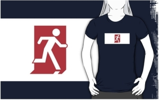 Running Man Exit Sign Adult T-Shirt 115