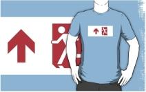 Running Man Exit Sign Adult T-Shirt 116