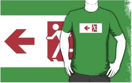 Running Man Exit Sign Adult T-Shirt 117