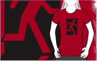 Running Man Exit Sign Adult T-Shirt 118