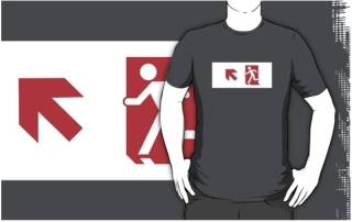 Running Man Exit Sign Adult T-Shirt 119