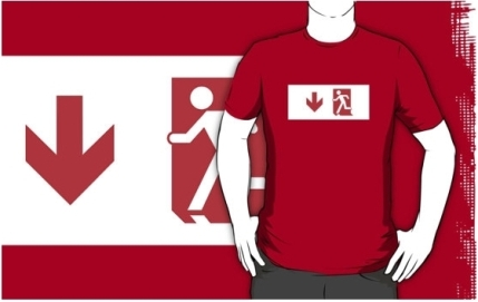 Running Man Exit Sign Adult T-Shirt 121