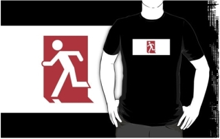 Running Man Exit Sign Adult T-Shirt 122