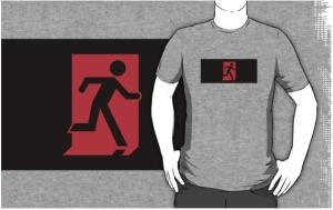 Running Man Exit Sign Adult T-Shirt 123