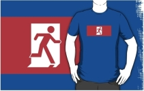 Running Man Exit Sign Adult T-Shirt 124