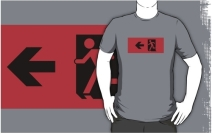 Running Man Exit Sign Adult T-Shirt 125