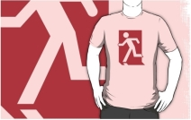 Running Man Exit Sign Adult T-Shirt 126