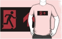 Running Man Exit Sign Adult T-Shirt 127