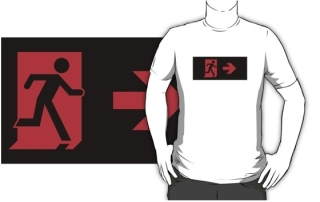 Running Man Exit Sign Adult T-Shirt 128