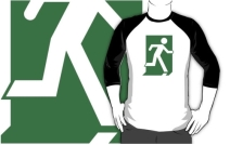 Running Man Exit Sign Adult T-Shirt 14