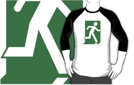 Running Man Exit Sign Adult T-Shirt 14