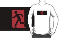 Running Man Exit Sign Adult T-Shirt 15