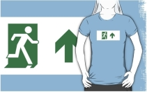 Running Man Exit Sign Adult T-Shirt 16
