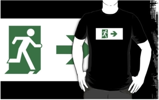 Running Man Exit Sign Adult T-Shirt 17