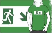 Running Man Exit Sign Adult T-Shirt 19