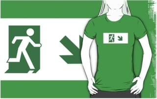 Running Man Exit Sign Adult T-Shirt 19