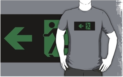 Running Man Exit Sign Adult T-Shirt 2