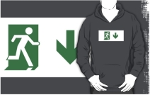 Running Man Exit Sign Adult T-Shirt 20