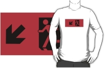 Running Man Exit Sign Adult T-Shirt 22