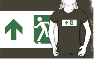 Running Man Exit Sign Adult T-Shirt 23