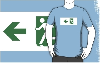 Running Man Exit Sign Adult T-Shirt 25
