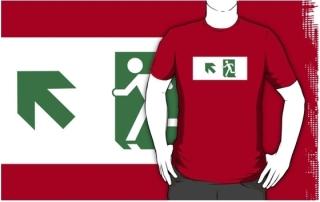 Running Man Exit Sign Adult T-Shirt 26