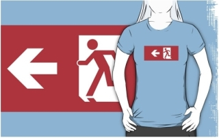 Running Man Exit Sign Adult T-Shirt 27
