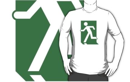 Running Man Exit Sign Adult T-Shirt 28