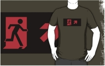Running Man Exit Sign Adult T-Shirt 3