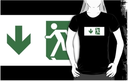 Running Man Exit Sign Adult T-Shirt 30