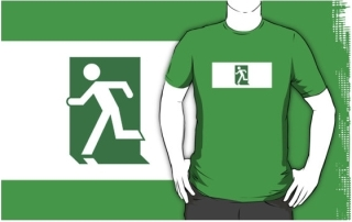 Running Man Exit Sign Adult T-Shirt 31