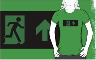 Running Man Exit Sign Adult T-Shirt 32