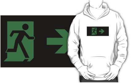 Running Man Exit Sign Adult T-Shirt 33