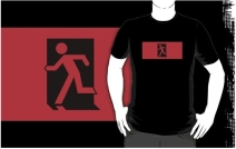 Running Man Exit Sign Adult T-Shirt 34