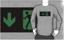 Running Man Exit Sign Adult T-Shirt 35